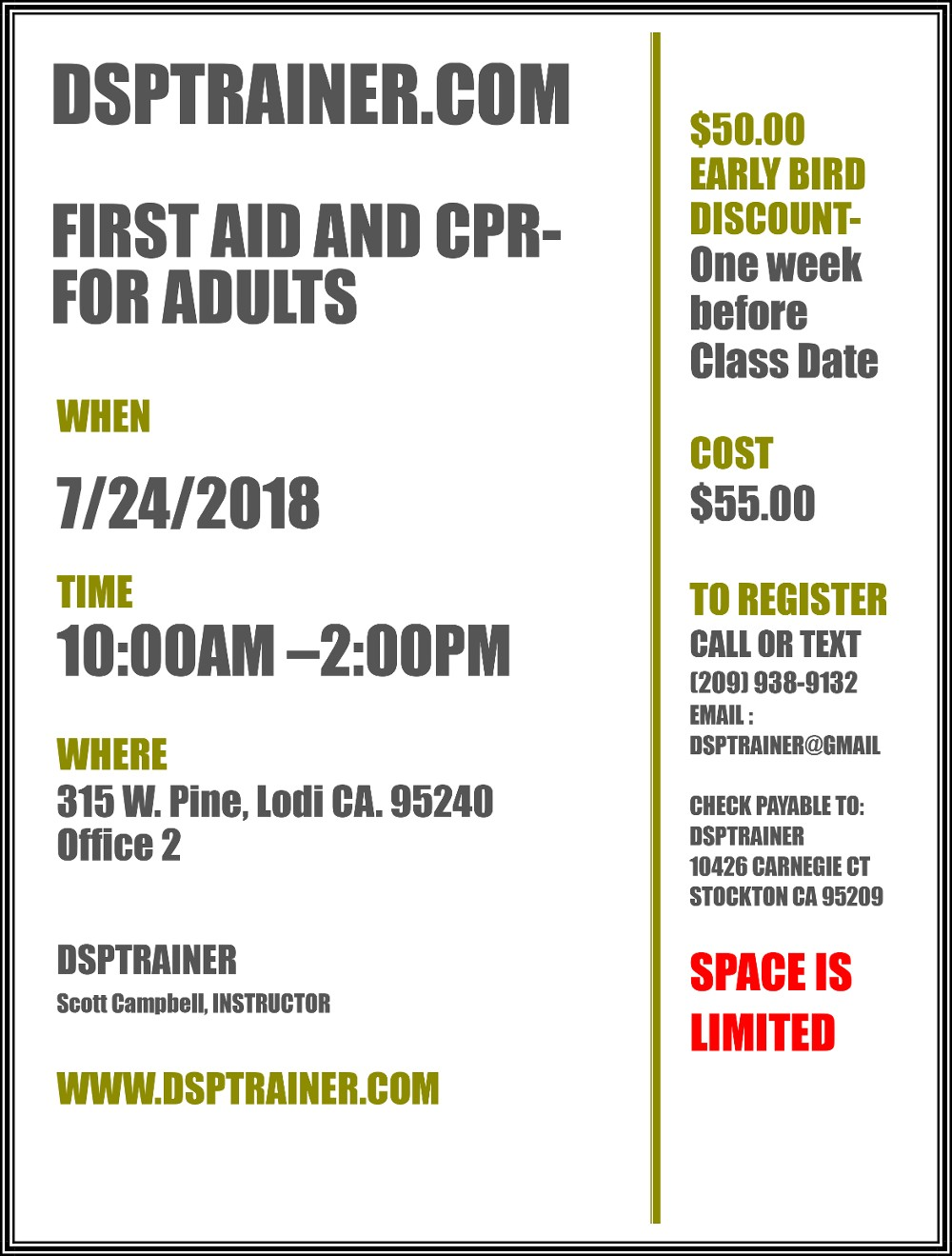 FIRST AID AND CPR -FOR ADULTS July