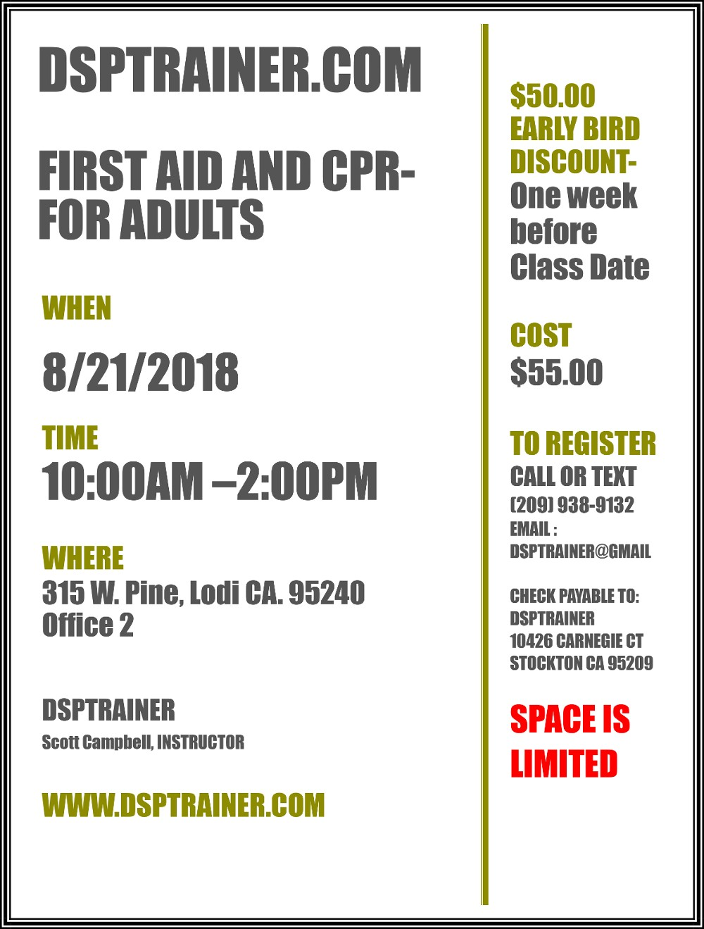 FIRST AID AND CPR -FOR ADULTS August